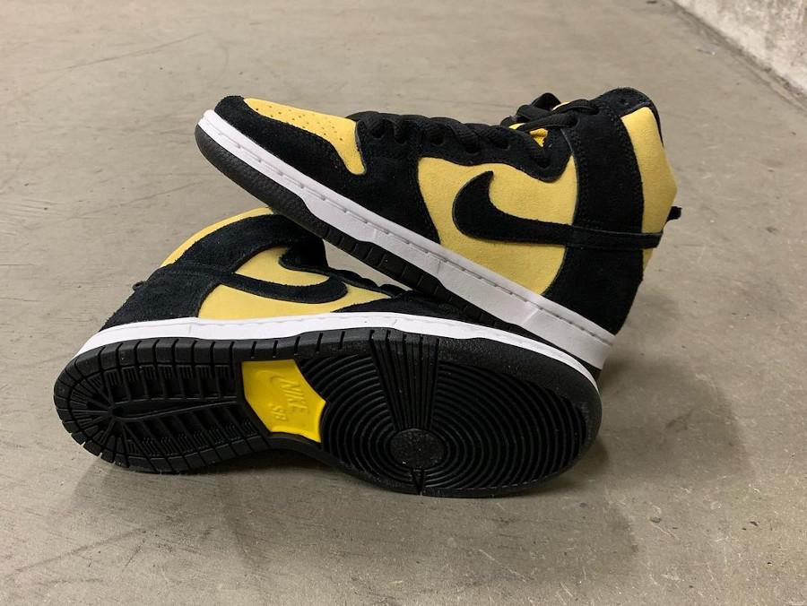 Nike Dunk high SB Pro jaune et noire (2)
