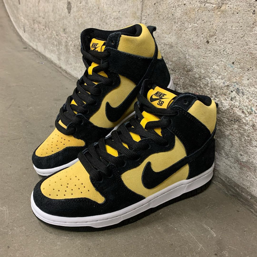 Nike Dunk high SB Pro jaune et noire (3)