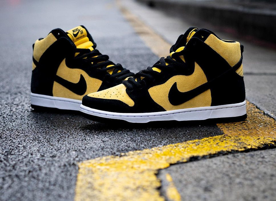 Nike Dunk high SB Pro jaune et noire (7)