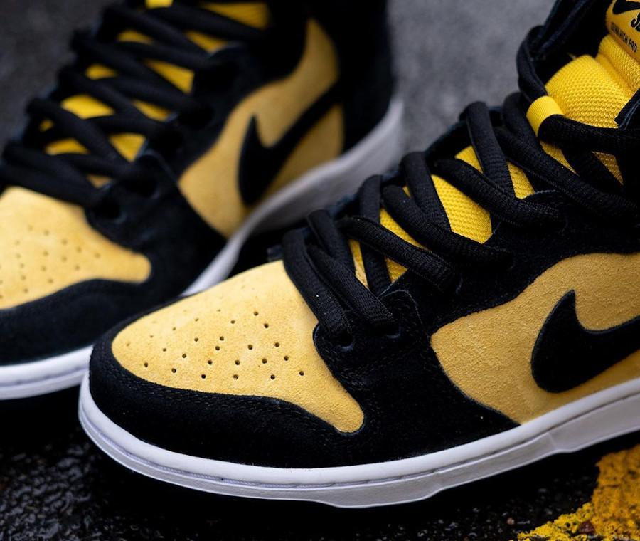 Nike Dunk high SB Pro jaune et noire (8)