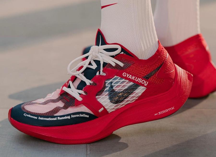 Nike ZoomX Vaporfly Next% 2 Gyakusou University Red on feet CT4894-600