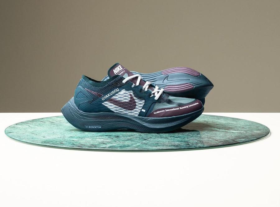 Nike ZoomX Vaporfly Next% 2 Gyakusou bordeaux et vert foncé (1)