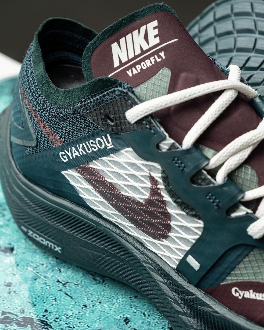 Nike ZoomX Vaporfly Next% 2 Gyakusou bordeaux et vert foncé (3)