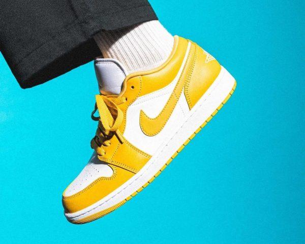 Air Jordan 1 Low Pollen on feet (2)