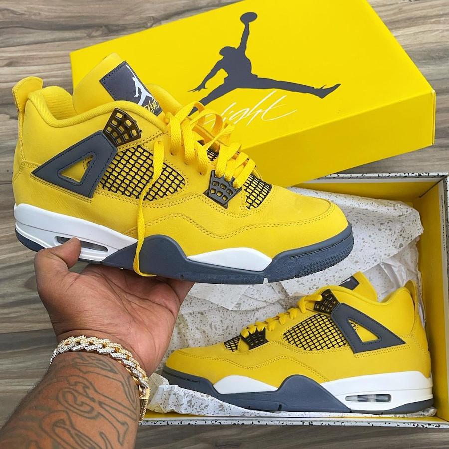 Air Jordan 4 Retro AJ4 Lightning 2021 Tour Yellow (daim jaune)