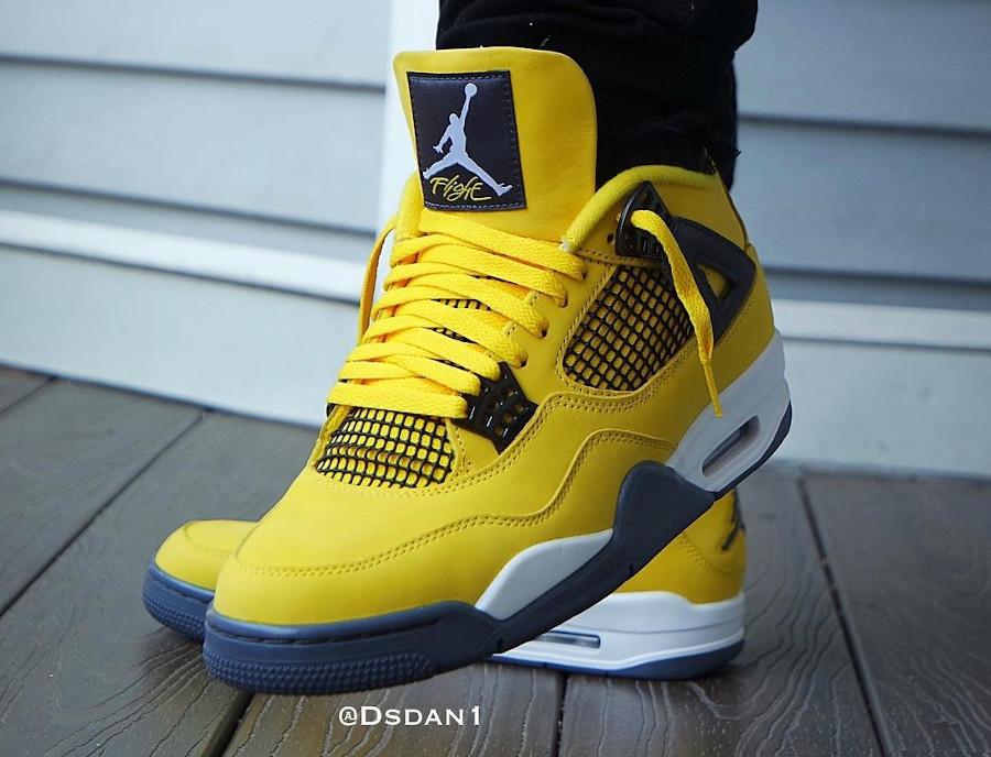 Air Jordan IV en suède jaune moutarde on feet (3)