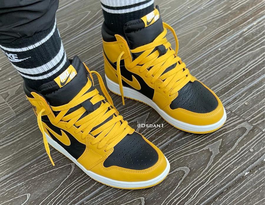 Air Jordan One Hi noire et jaune on feet (4)