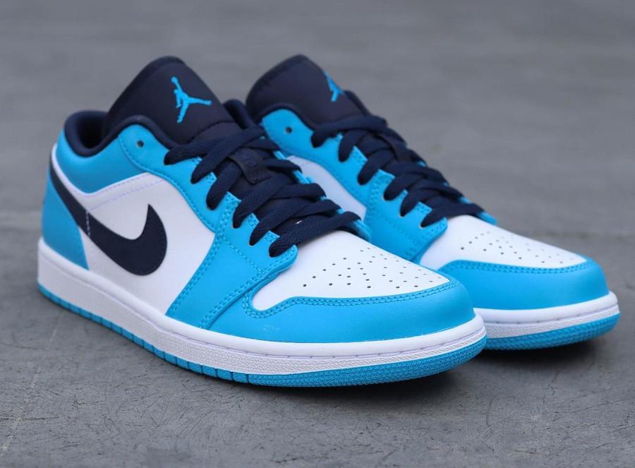 Air Jordan One Lo blanche bleu clair et foncé (1)