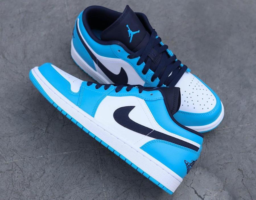 Air Jordan One Lo blanche bleu clair et foncé (2)