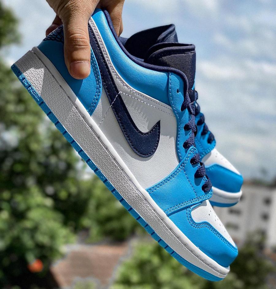 Air Jordan One Lo blanche bleu clair et foncé (4)