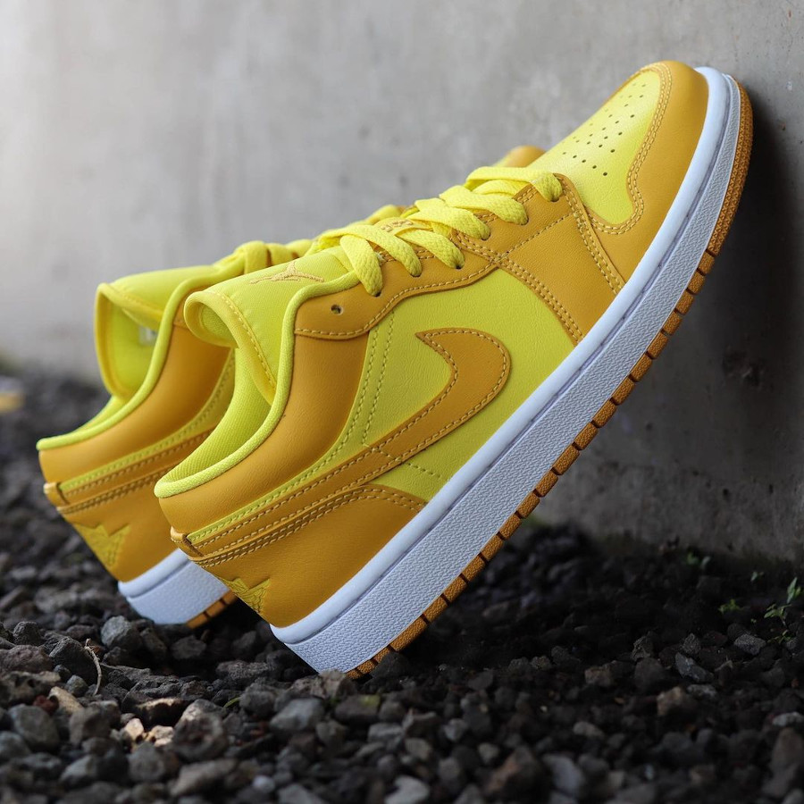 Air Jordan One Low pour fille jaune moutarde (3)