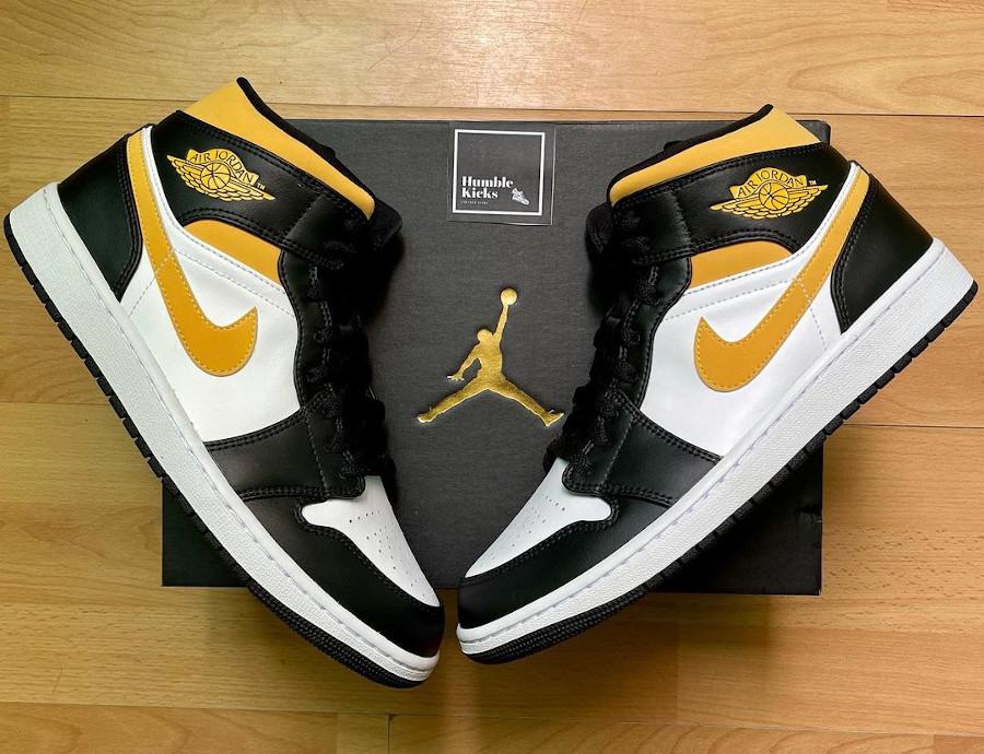 Air Jordan One Mid 2021 jaune et noire (2)