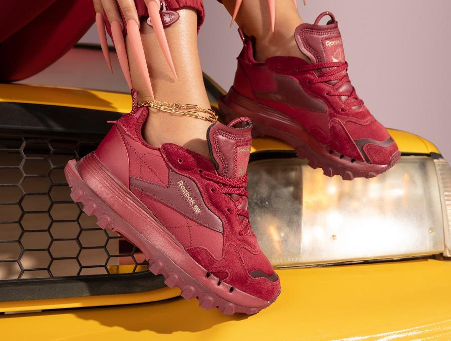 Cardi B x Reebok Classic Leather Triathalon Red on feet