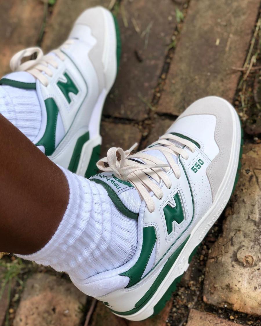 NB 550 BB550WT1 White Green Boston Celtics on feet