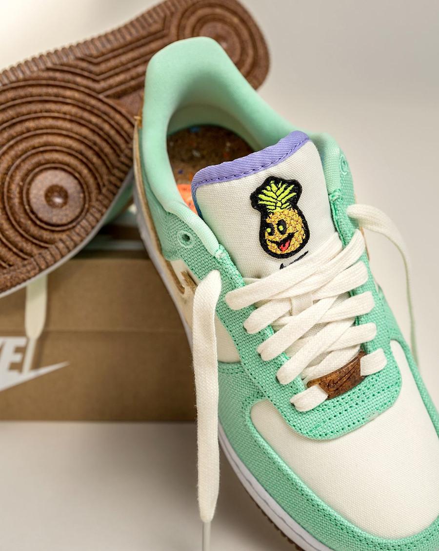 Nike Air Force One ananas en toile recyclée vert pastel (2)