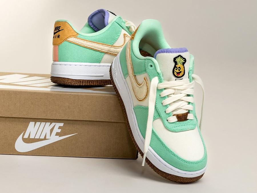 Nike Air Force One ananas en toile recyclée vert pastel (3)