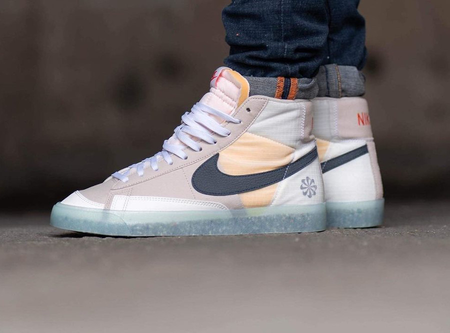 Nike Blazer Mid '77 Cream II Glacier Ice (Move to Zero) on feet