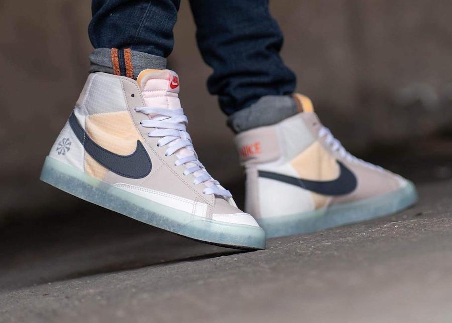 Nike Blazer Mid recyclée style Sacai (semelle transparente) on feet (1)