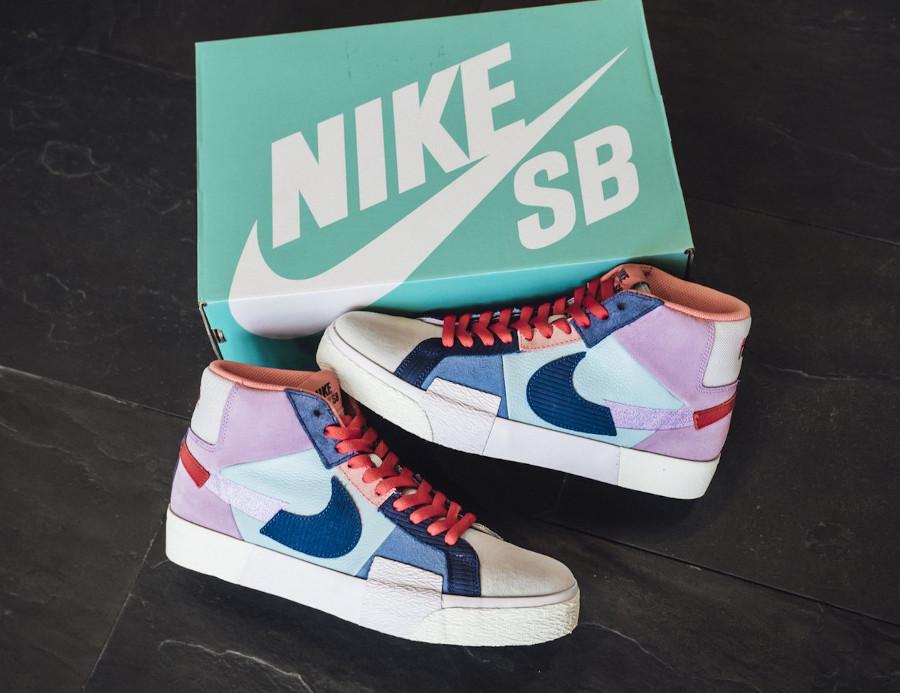 Nike Blazer SB Mid Premium deconstruct violet bleue et rouge (1)