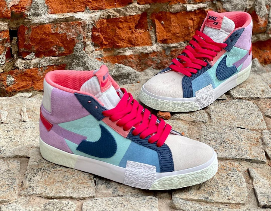 Nike Blazer SB Mid Premium deconstruct violet bleue et rouge (3)