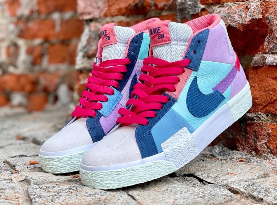 Nike Blazer SB Mid Premium deconstruct violet bleue et rouge (4)