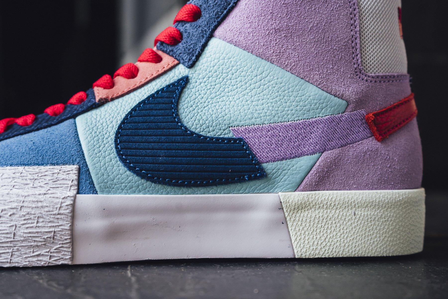 Nike Blazer SB Mid Premium deconstruct violet bleue et rouge (5)