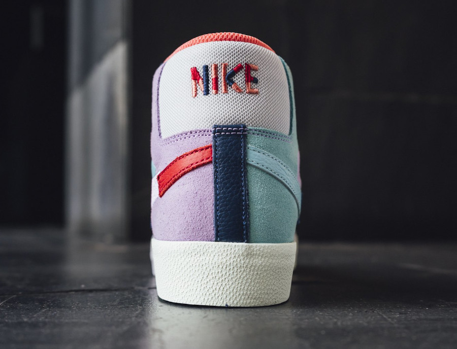 Nike Blazer SB Mid Premium deconstruct violet bleue et rouge (6)