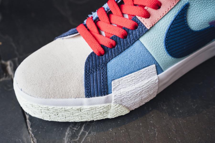 Nike Blazer SB Mid Premium deconstruct violet bleue et rouge (8)
