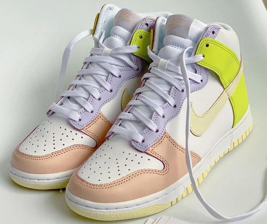 Nike Dunk Hi rose violet et jaune pastel (1)