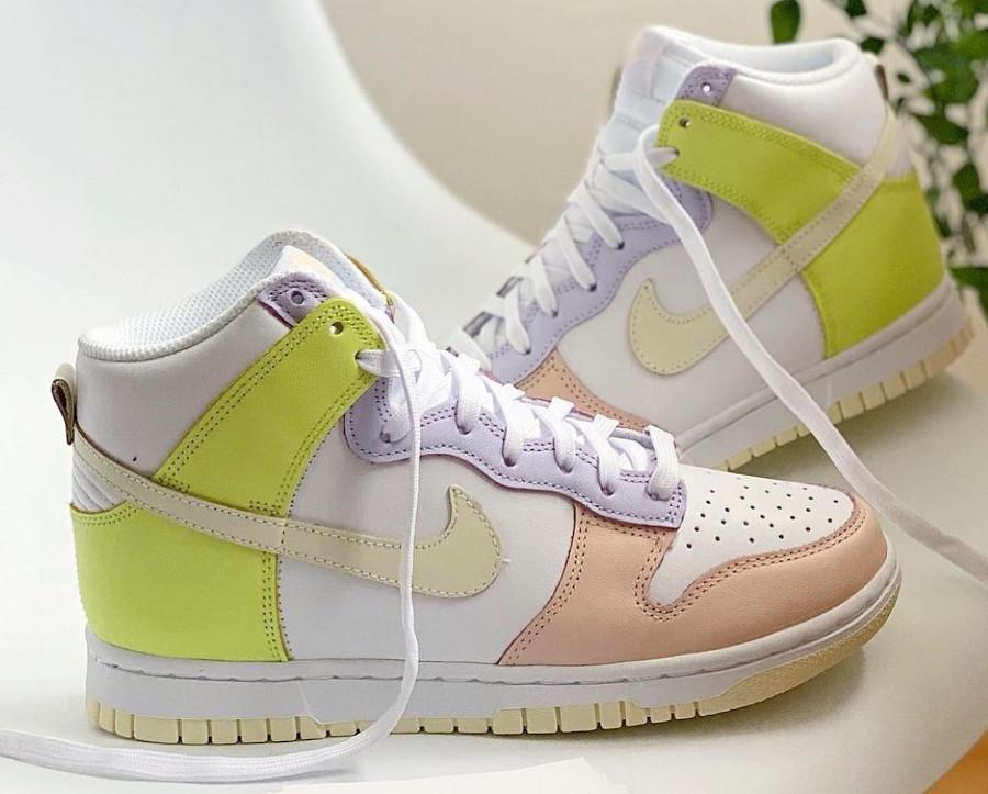 Nike Dunk Hi rose violet et jaune pastel (2)