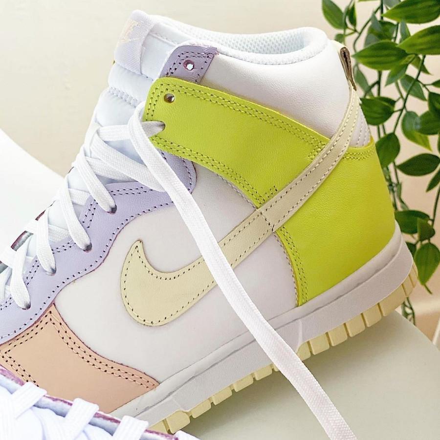 Nike Dunk Hi rose violet et jaune pastel (3)