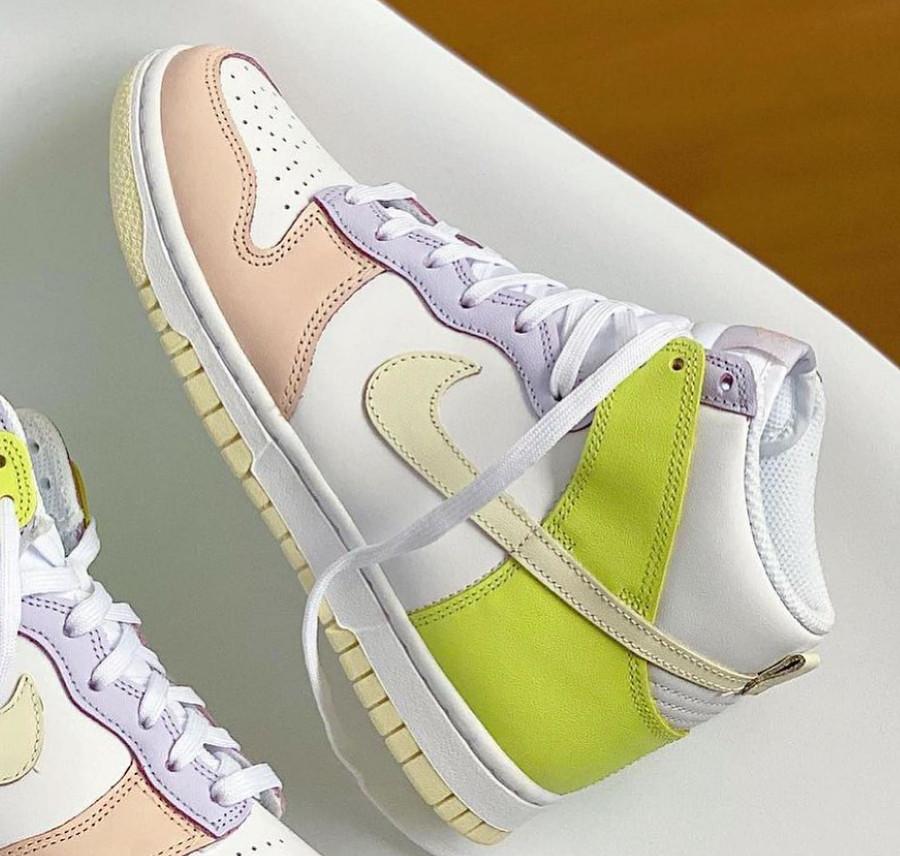 Nike Dunk Hi rose violet et jaune pastel (4)