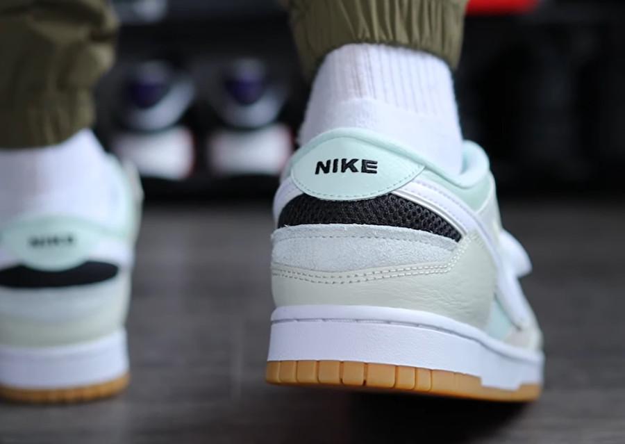 Nike Dunk Scrap grise et vert pastel on feet (1)