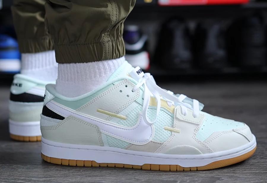 Nike Dunk Scrap grise et vert pastel on feet (2)