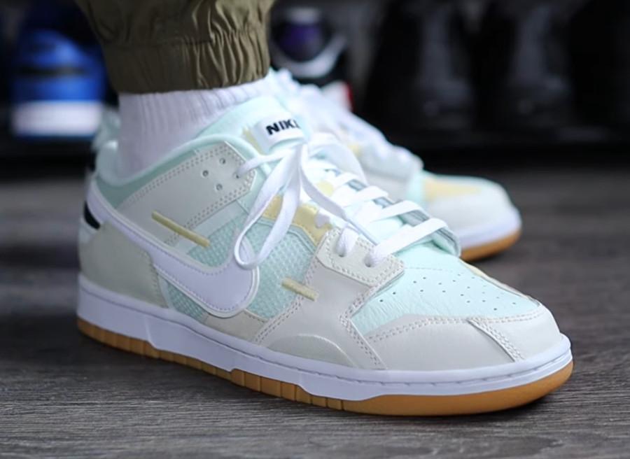 Nike Dunk Scrap grise et vert pastel on feet (3)