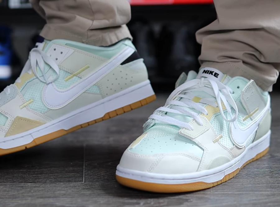 Nike Dunk Scrap grise et vert pastel on feet (5)