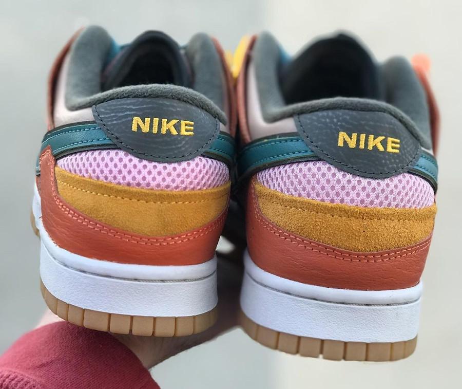 Nike Dunk Scrap marron violet jaune et vert foncé (1)