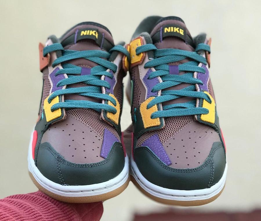 Nike Dunk Scrap marron violet jaune et vert foncé (3)