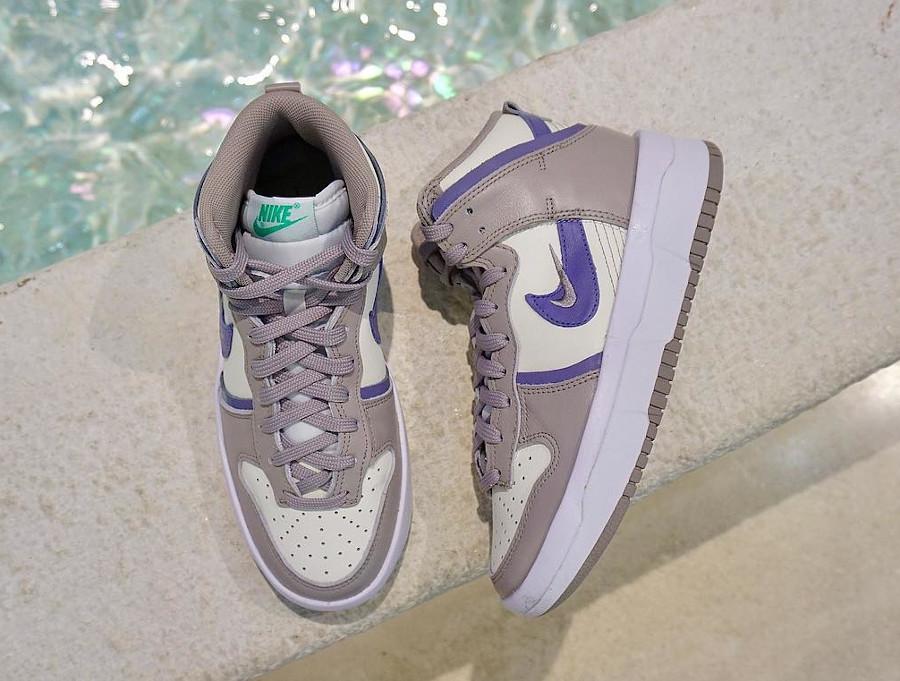 Nike Dunk Up compensée grise violet et vert turquoise (2)