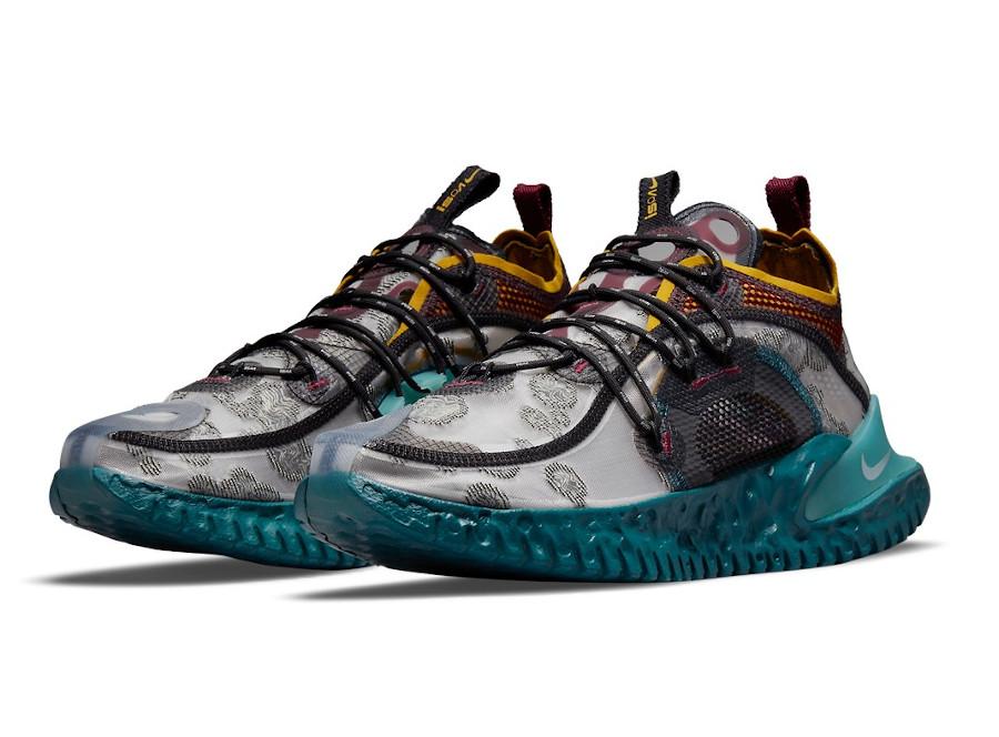 Nike ISPA Flow grise bordeaux bleu sarcelle et jaune (1)