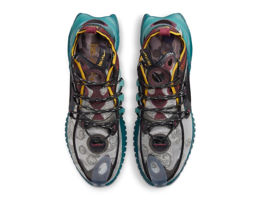 Nike ISPA Flow grise bordeaux bleu sarcelle et jaune (2)