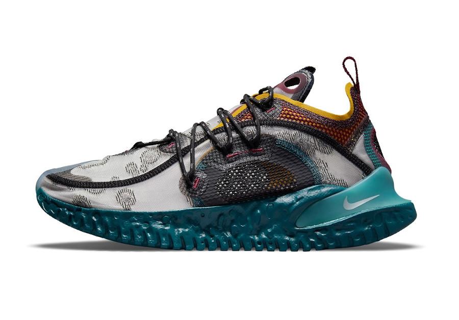 Nike ISPA Flow grise bordeaux bleu sarcelle et jaune (4)