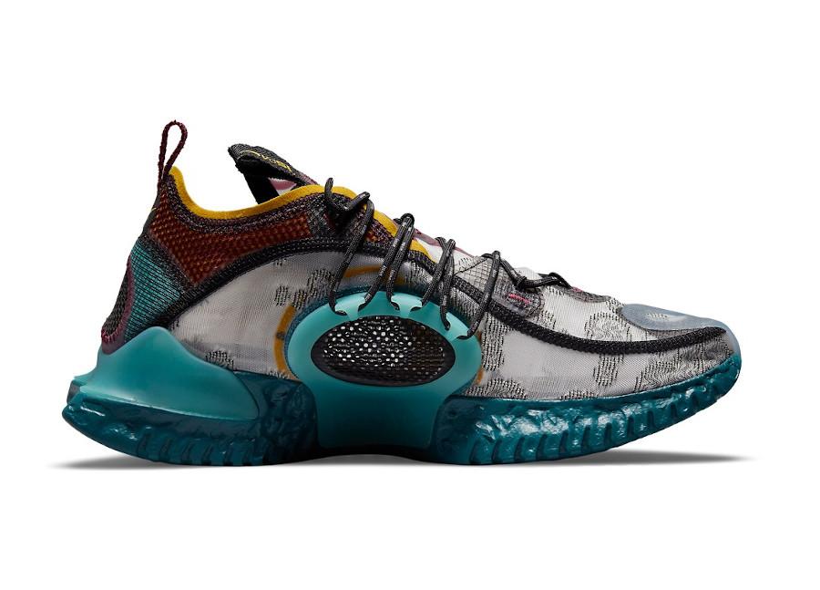 Nike ISPA Flow grise bordeaux bleu sarcelle et jaune (5)
