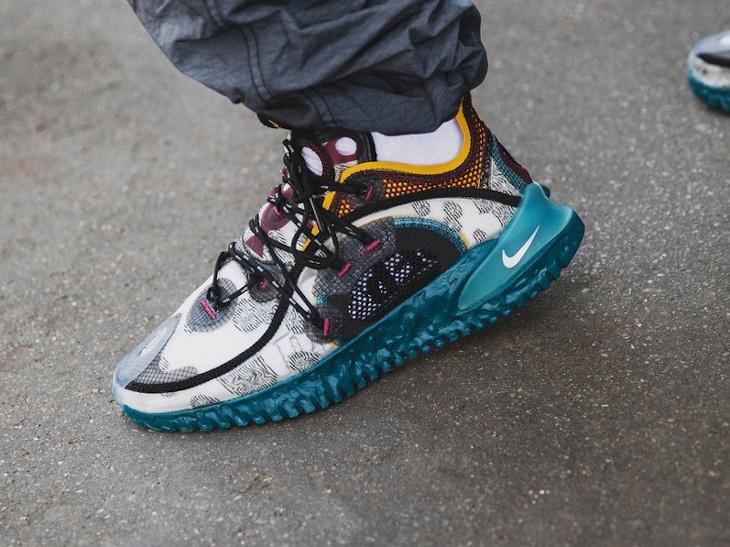 Nike ISPA Flow grise bordeaux bleu sarcelle et jaune on feet (3)