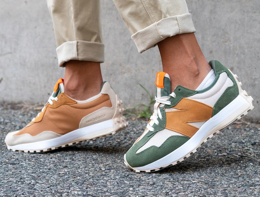 Todd Snyder x New Balance 327 'Farmers Market Pack' Wheat on feet