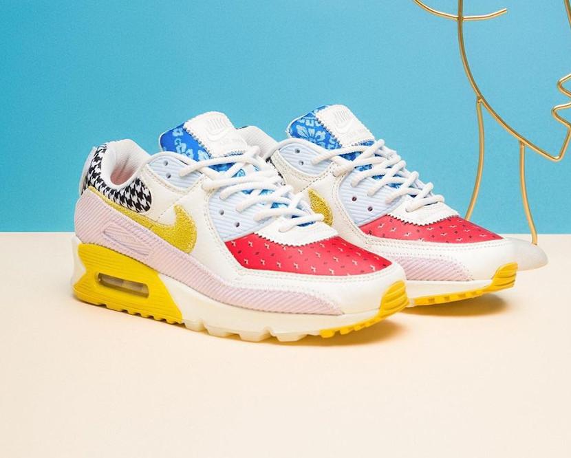 Women's Nike Air Max III Patchwork rouge bleu jaune et rose (4)