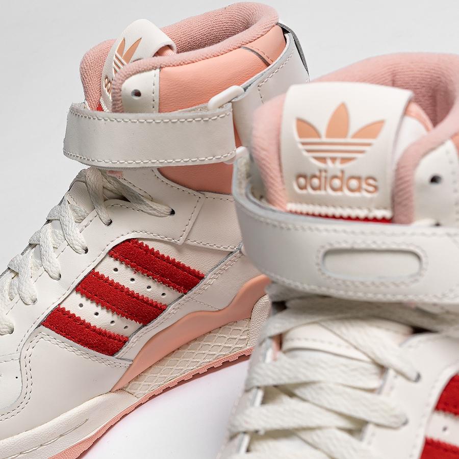 Adidas Forum montante blanc cassé rose et rouge (3)
