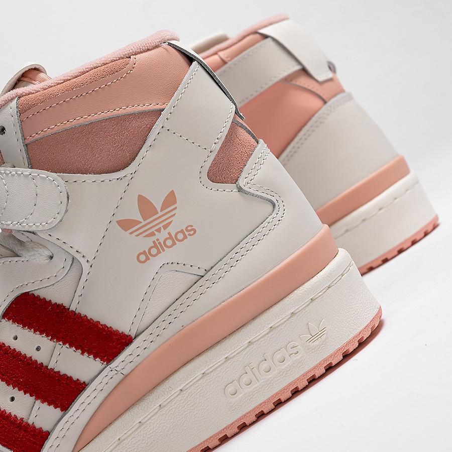 Adidas Forum montante blanc cassé rose et rouge (4)