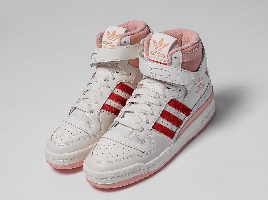 Adidas Forum montante blanc cassé rose et rouge (5)