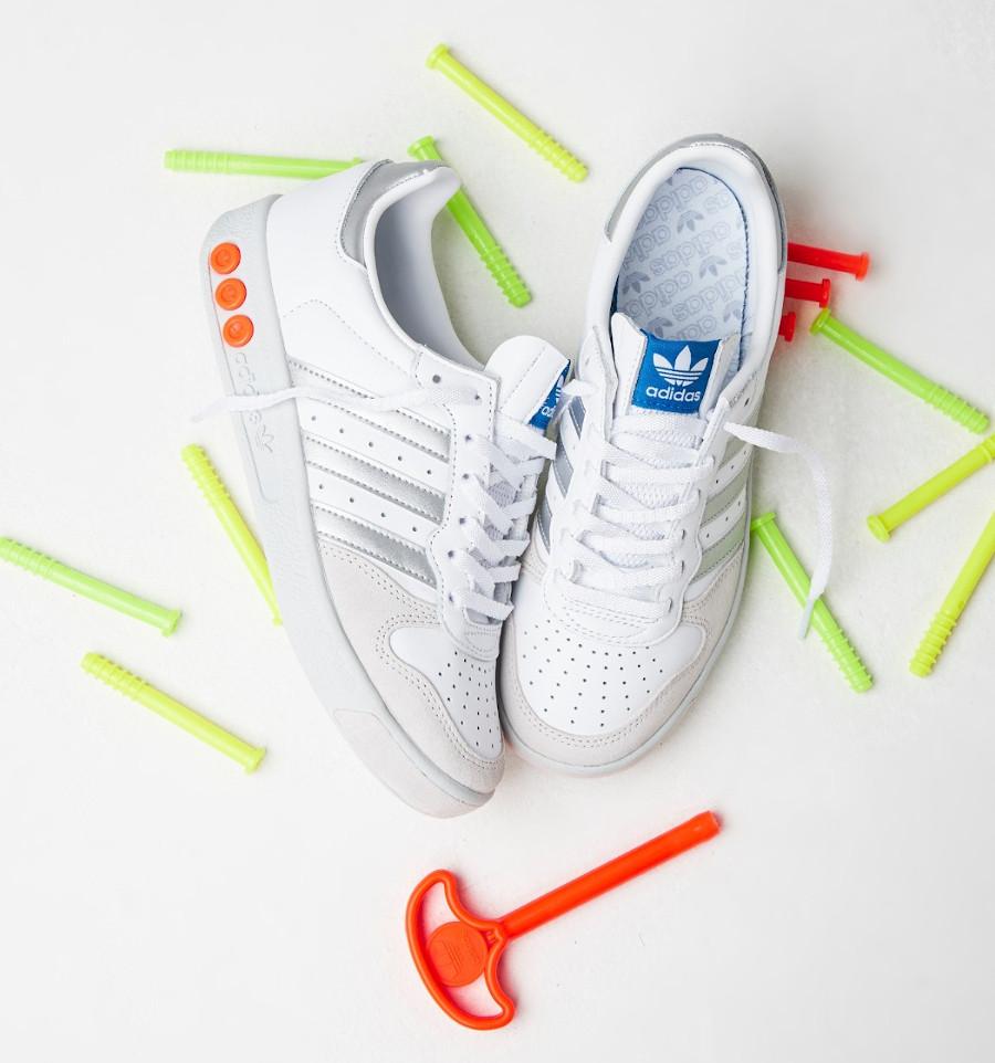 Adidas G.S blanche argent vert fluo et orange (1)